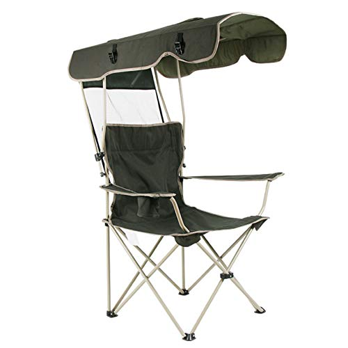 Outdoor Folding Camping Chair Sketching Chairs With Shade Canopy Sun Protection Portable Comfortable Durable Camping Chairs With Cup Holder For Beach Fishing Garden Festival Beach Travel Seat