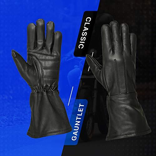 Hugger Motorcycle Black Gauntlet Gloves Unlined Cold/Wind Resistant (Large)