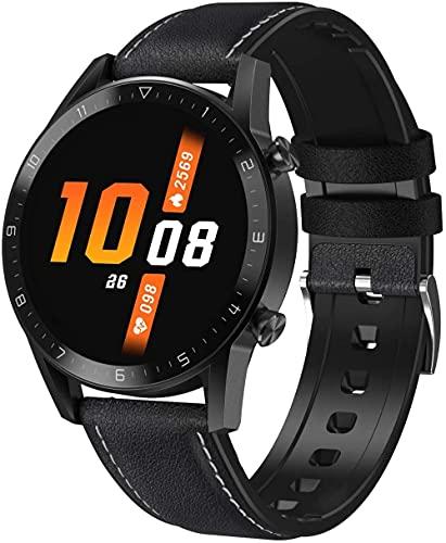 Reloj inteligente para hombre 1 3 pantalla táctil completa IP68 podómetro impermeable con control de salud reloj inteligente, adecuado para Android y LOS-cuero negro