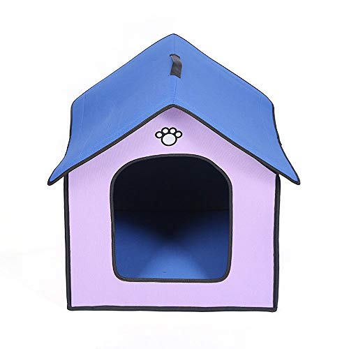 FANCYKIKI Regenfeste wasserdichte Hundehütte im Freien Haustier-Haus-Hundehütte Katzenstreu-BAU-Haustier-Bett für Hunde Deluxe Haustier-Betten Aufenthaltsraum-Sofa (Farbe : Purple, Size : S)