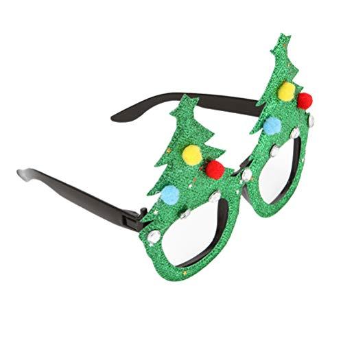 Amosfun Albero di Natale Occhiali novità Costume Eyewear Fancy Dress Occhiali da Sole Cornice per Bambini Adulti Cosplay Puntelli per Foto Articoli per Feste (Verde)