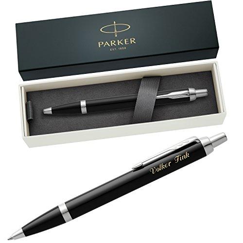 PARKER Kugelschreiber IM Black Lacquer C.C. 1931665 mit persönlicher Laser-Gravur