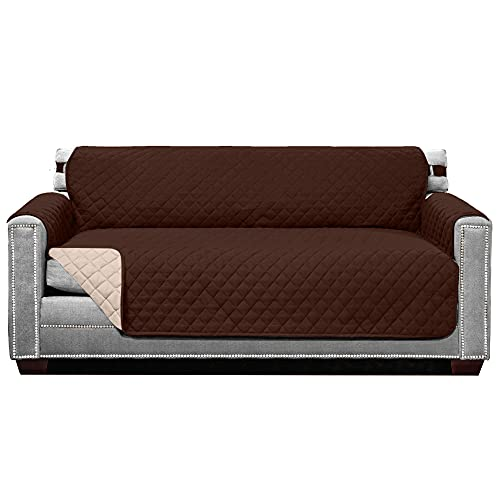 Sofa Shield Patent Pending Sofa Slipcover, Reversible, Easy Fit, 70 Inch Seat Width, Furniture Protector with Straps, Thick and Durable Couch Slip Cover Throw for Pet Dogs, Kids, Chocolate Beige