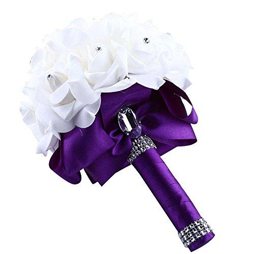 DDLBiz Beautiful Crystal Roses Pearl Bridesmaid Wedding Bouquet Bridal Artificial Silk Flowers (Purple)