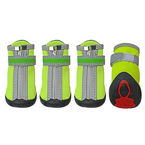 GO-AHEAD Pfotenschutz Winter-Hundeschuhe Warm Kleine Big Dogs Schuhe Socken Wasserdicht Reflektierende Dog Boots Paw-Schutz Anti-Rutsch-Regen Schnee Pet Booties (Color : Green, Size : 2)