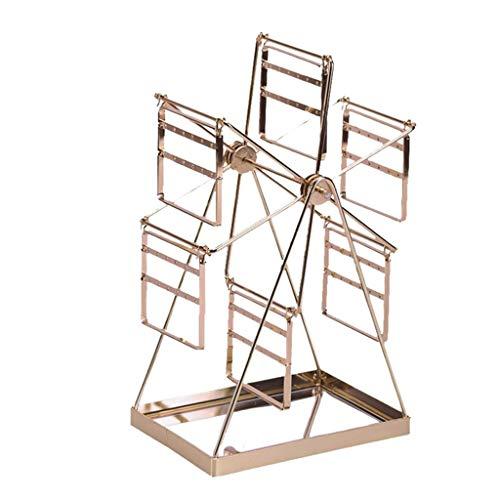 Aiglen Pendientes de escritorio de la rueda de la noria Soporte de exhibición de la joyería del soporte del clavo anillo de almacenamiento collar