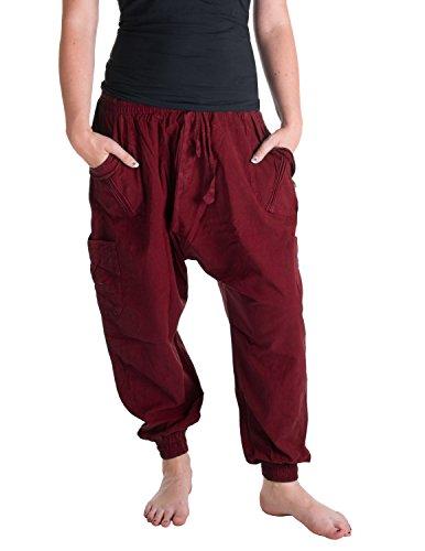 Vishes – Alternative Bekleidung – Sommer Haremshose mit Taschen aus Baumwolle mit elastischem Bund – handgewebt dunkelrot Einheitsgröße 38 bis 44