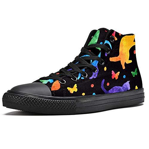TIZORAX - Zapatillas altas para hombre, diseño de gato Colorfuo con mariposas y lunares