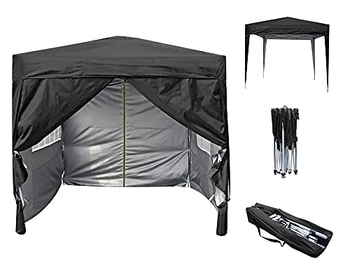 Pop-up Gazebo 2m x 2m With Sides Silver Protective Layer Waterproof Marquee Canopy (WS) (Black)