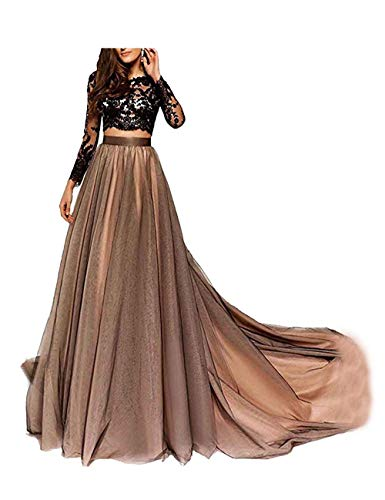 LastBridal Women Lace Long Sleeves Two Piece Prom Dresses Long 2021 Formal Party Evening Gown LB0139 US 8 Black