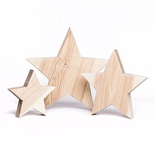 Woods 3er Set Holzstern Esche - Dekoration aus Holz handgefertigt in Bayern I Holzsterne zum hinstellen - gemütliche Advent & Weihnachtsdeko für Fenster & Co I 3x Holzstern groß 20-30 und 40cm