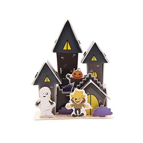 Hohaski 3D Three-Dimensional Puzzle Amusement Haunted House, Christmas Ornaments Advent Calendar Pillow Covers Garland Tree Skirt Gift Bags DIY