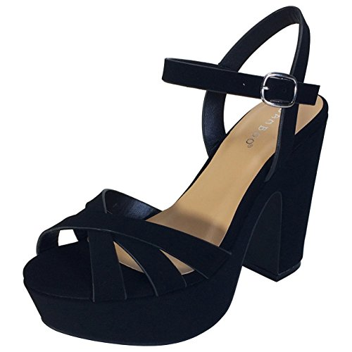 BAMBOO Women's Simple Platform Chunky Heel Sandal, Black Nubuck PU, 8.0 B (M) US