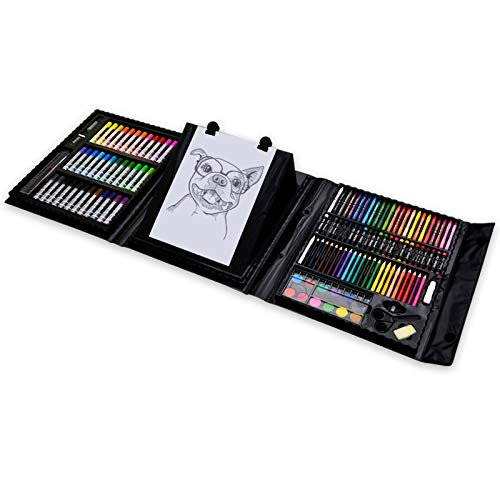 Darnassus 155-Piece Trifold Easel Art Set, Deluxe Professional Color Set, Compact Portable, with Crayons, Markers, Pencils, Color Cakes, and Sketch Pad