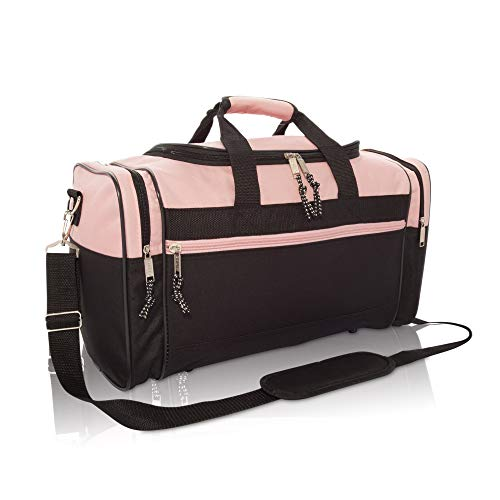 "17"" Womens Duffle Bag in Pink and Black"