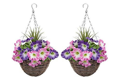 GreenBrokers Pink & Purple 2X Artificial Round Rattan Hanging Baskets Petunias and Decorative...