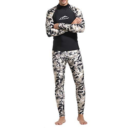FRAUIT Herren Neoprenanzug UV-Anzug Ganzkörper-Tauchanzug Camouflage Surfen Badeshirt Badeanzug Jumpsuit Diving Steamer Bademode swetsuit Schwimmanzug Schnorchelanzug Overall