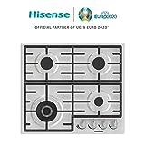 Hisense GM663X, piano cottura a Gas, 4 zone di cottura, larghezza 60 cm, un bruciatore Wok...