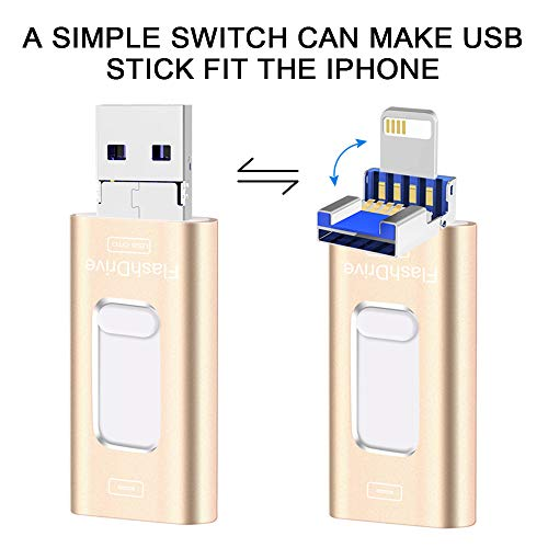 Type-C Flash Drive iPhone USB Flash Drive 128 GB High Speed Memory Stick 3 in 1 Thumb Drive Jump Drive for Android, Samsung, iPhone, MacBook, PC and More Devices (Go   ld)