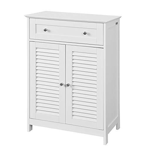 SoBuy® FRG238-W Badkommode mit Einer Schublade und Türen, Kommode Badschrank Sideboard Flurschrank, weiß BHT ca: 60x87x35cm