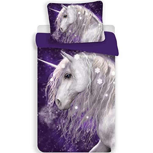 Licorne Purple - Parure de lit - Housse de Couette Coton 140 x 200 cm