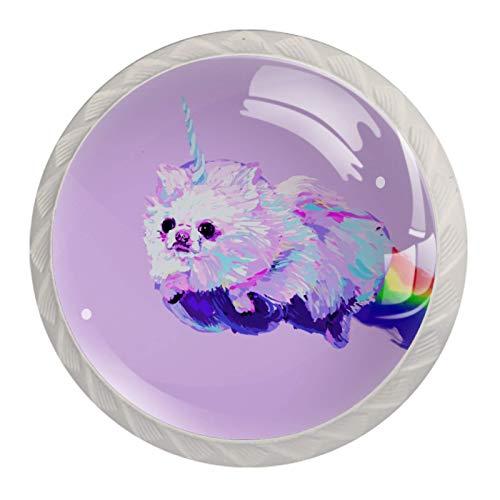 Perillas de gabinete de cocina Perillas decorativas redondas Gabinete Cajones de armario Tirador de tocador 4PCS Unicorn Dog