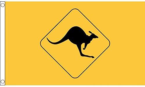5ft x 3ft (150 x 90 cm) KANGOUROU SIGNE jaune Australie australien 100% Matériau POLYESTER flag banner idéal pour CLUB école affaires Décoration pour fête
