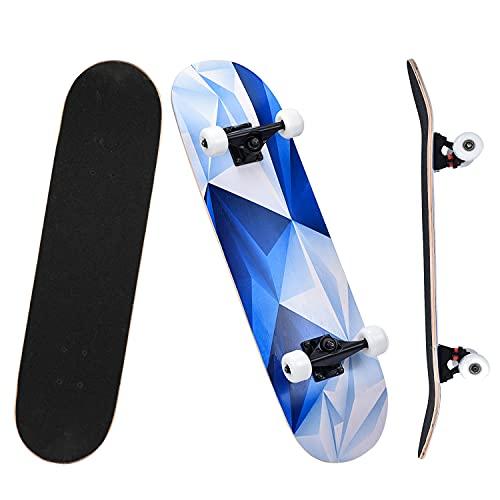 skateboard di legno YUDOXN Skateboard Completo per Principianti. 79x20cm skateboard Double Kick Deck Concavo con 7 strati di legno d'acero