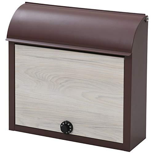 山善 メールボックス ポスト ダイヤルロック式 幅38×奥行12×高さ37cm (郵便ポスト/宅配ボックス) 壁付け ブラウン/アッシュ WP1603D(BR/WWD)
