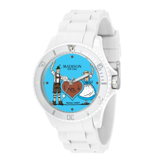 Madison New York Damen-Armbanduhr XL Bavarian Candy Analog Quarz Silikon U4444C