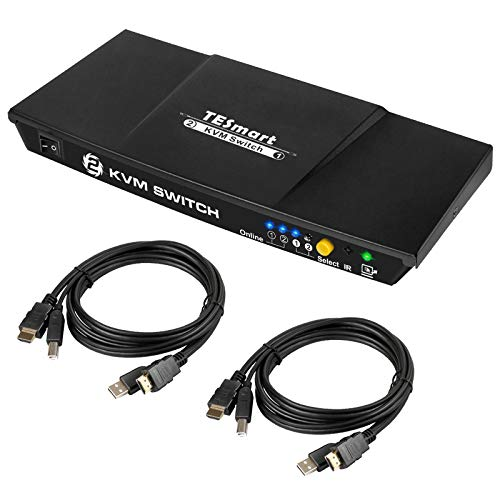 TESmart 2 Ports HDMI KVM Switch 4K Ultra HD 3840x2160@30Hz | 2x1 KVM Umschalter 2 PC 1 Monitor mit 2x1,5m KVM-Kabel Unterstützt USB 2.0-Geräte Steuert bis zu 2 Computer/Server/DVR-Matte Schwarz