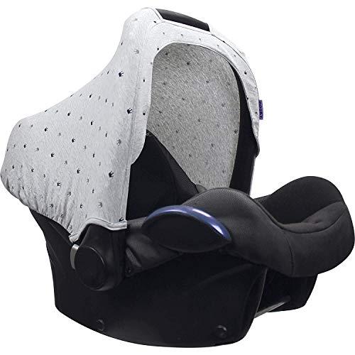 Original Dooky Hoody Sonnenschutz Sonnenverdeck für Babyschalen oder Kinderwagen (Design: Light Grey Crown, inkl. UV-Schutz 40+, Altersgruppe 0+, Universal geeignet für die meisten Marken)