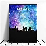 Póster de Lienzo Barcelona Starry City Skyline Lienzo Pared Arte impresión Cartel Moderno Cuadros de Pared decoración para Sala de estar-40X61cm sin Marco