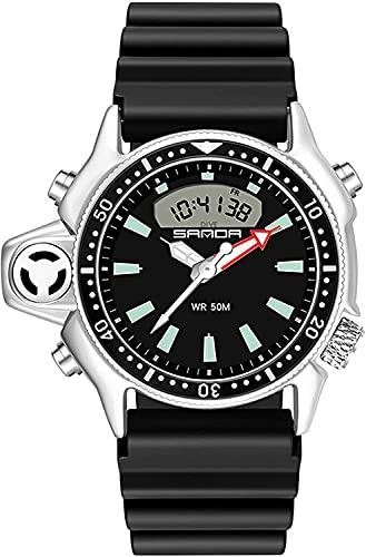 QHG Relojes de los Hombres Deportivos Relojes tácticos Reloj analógico a Prueba de Agua Relojes de Pulsera Digital Militar para Hombres DIRIGIÓ Cronómetro de Alarma de Retroceso (Color : Black)