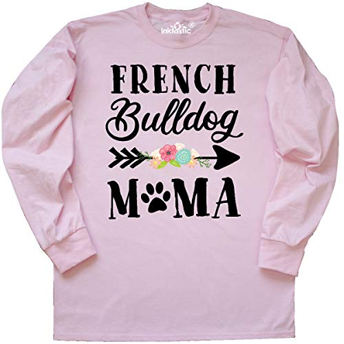 inktastic French Bulldog Mama with Flowers Long Sleeve T-Shirt Large Pink 39805