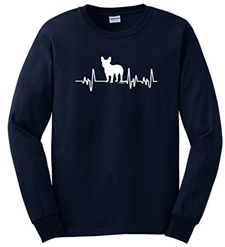 French Bulldog Gifts for Men French Bulldog Gifts Dog Lover Heartbeat Frenchie Long Sleeve T-Shirt 2XL Navy