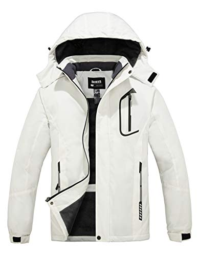 Skieer Men's Waterproof Ski Jacket Windproof Parka Anorak Daily Wear White XL