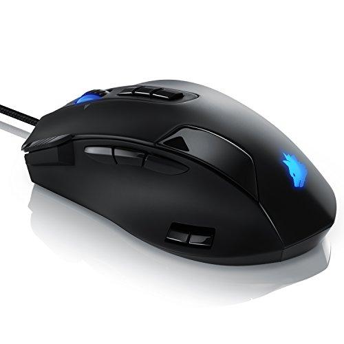 Titanwolf - Gaming Laser Mouse Admiral 16400 dpi - 12 programmierbare Tasten - 16400 dpi Abtastrate - Polling-Rate bis 1000 Hz - MMO Gaming USB - Makro-Modus - Gewichts-Feinjustierung