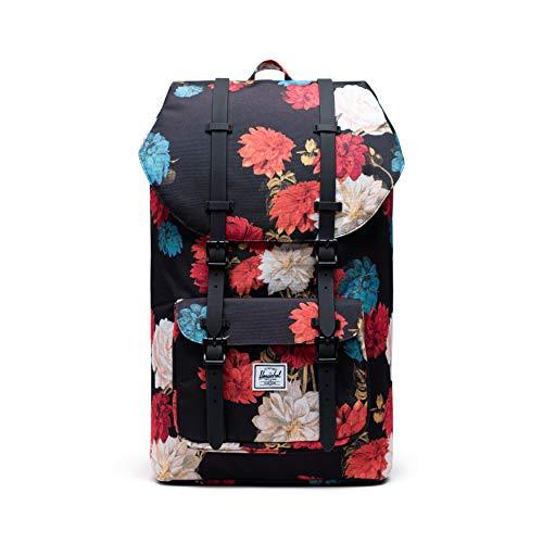 Herschel Little America cutest Backpacks for college with Laptop Sleeve, Vintage Floral Black