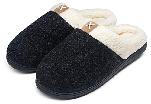 Jousen Men's Slippers Memory Foam with Warm Fuzzy Plush Indoor Outdoor House Slippers for Men(AMY203 Black 12&13)