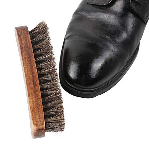 YiGanQiang Cepillo de Zapatos cepillos de Pulido, 2 Pedazos del Cepillo de Crin Cepillo de Pulido Nubukbürste Limpieza de Zapatos de Pulido cepillos Cepillo de Madera for Productos de Cuero y Calzado