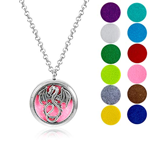 """mEssentials Mother of Dragons Essential Oil Diffuser Necklace Gift Set - Includes Aromatherapy Pendant, 24"""" Stainless Steel Chain, 12 Color Refill Pads"""