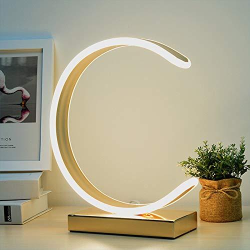 ASMCY Moderno LED Lámpara de mesa 3 Temperatura de color Estilo nórdico Lámpara de mesa Lampara de lectura Con Cambiar, Lámparas de noche de decoración Para Cuarto Sala de estar Oficina,Oro