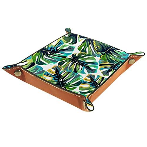 Bandeja de cuero organizador bandeja de almacenamiento bandeja de joyería bandeja de accesorios para carteras, relojes, llaves, teléfonos celulares y equipos de oficina hojas verdes