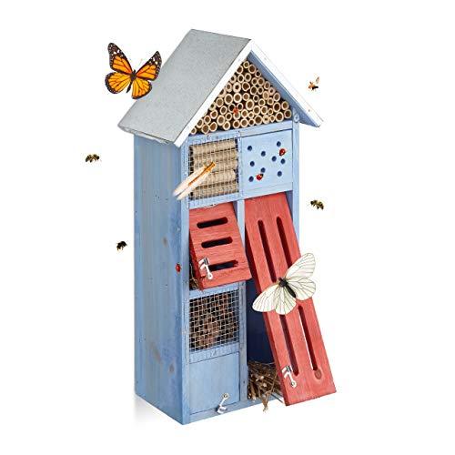 Relaxdays Insektenhotel mit Metalldach für Bienen & Schmetterlinge, Nisthilfe für Balkon, HxBxT: 48,5 x 24 x 14 cm, blau