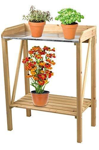 DRULINE bloementafel bloempottafel pottafel tuintafel bloemenrek hout metaal