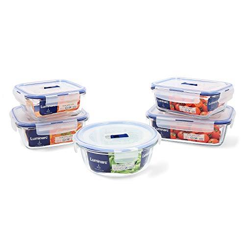 Luminarc Pure Box Active Set 5 recipientes herméticos de Vidrio, Extra Resistentes, Sin BPA, Válvula para microondas, 0,76 + 0,82 + 0,92 + (2x1,22) L