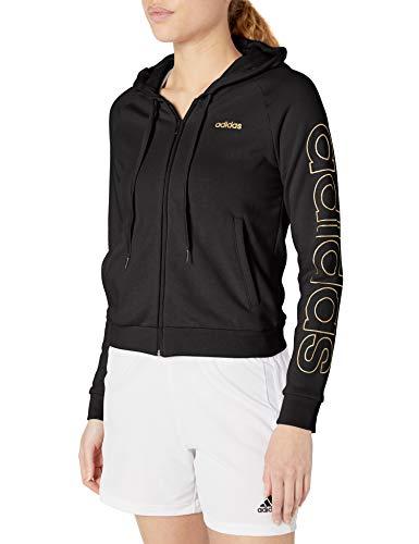 adidas Damen Essentials Trainingsjacke mit Kapuze, Damen, Jacke, W E Brand Hd Tt, Schwarz/Kupfer Metallic, Large