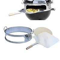 onlyfire brk-6023 acciaio inossidabile pizza forno pacchetto completo pizzaring per weber 57cm grill bollitore e molti altri modelli, pizza per carbone di legna grill bollitore