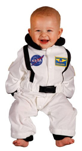 Aeromax Jr. Astronaut Suit with NASA patches and diaper snaps,WHITE, Size 6/12 Months